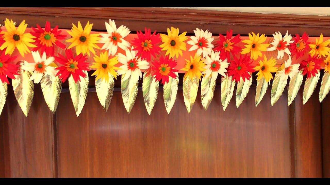 Diy How To Make Easy Paper Flowers Bandhanwar Toran At Home Youtube