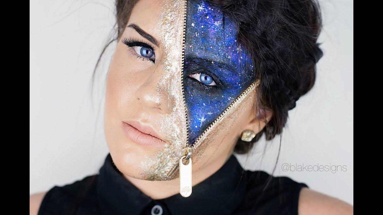 Gold Glitter Galaxy - Zipper Face || Makeup tutorial|| - YouTube