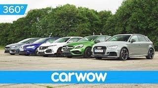 RS 3 v A45 AMG v Civic Type R v Golf R v Focus RS - 360 degree Drag Race | Head-to-Head