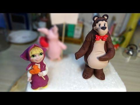 Как сделать машу и медведя из мастики