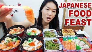 JAPANESE FOOD FEAST! Salmon Sashimi Rice, Chirashi Don, Cold Ramen Noodles | Mukbang Eating Show