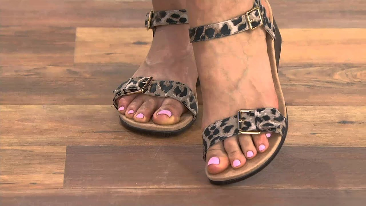 e65f14609f17 Vionic Orthotic Leather Ankle Strap Wedges - Nellie on QVC - YouTube