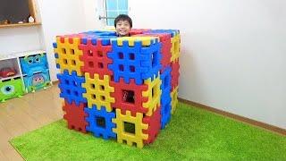 ブロックのお家作り? ごっこ遊び こうくんねみちゃん Playing with Toy Blocks