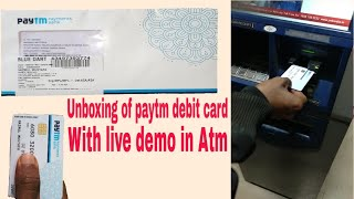 Unboxing of paytm payment bank debit card and live check in atm   paytm atm card   paytm card
