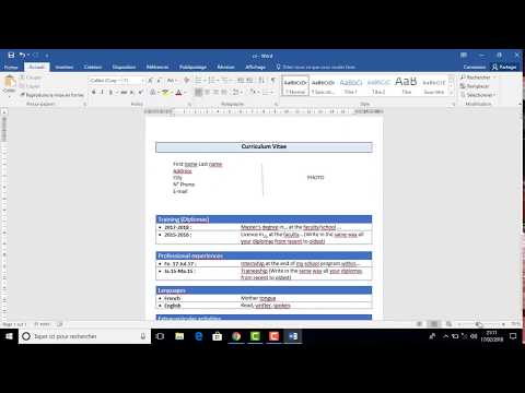 How to create a very simple CV on word