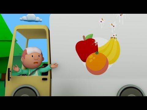 Yum Yum Yum! Carl Washes Healthy Food Trucks at Carl's Car Wash | Cartoons for kids