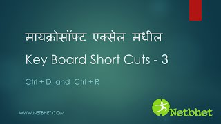 Microsoft Excel keyboard Shortcuts -Part 3 - CtrlD and CtrlR (In Marathi Language)