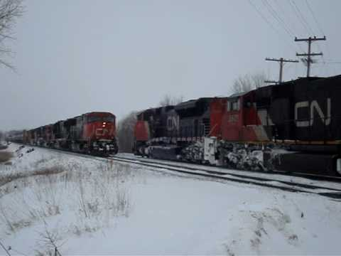 Canadian National Railway trains meet on a cold winter day