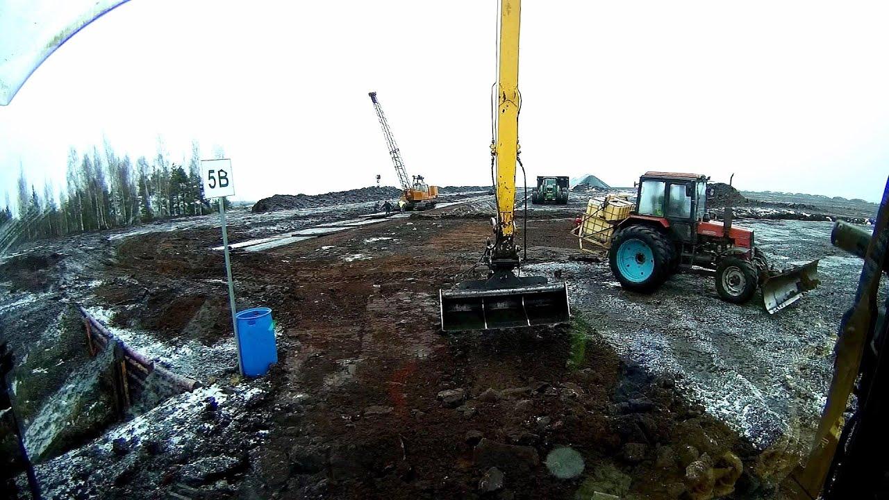 Строительство дороги на болоте. Зима. Часть 2