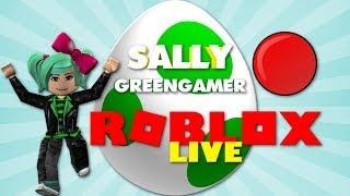 ¡¿DÓNDE ESTÁ LA CAZA DE HUEVOS?! Roblox Live Dinner con SallyGreenGamer Geegee92