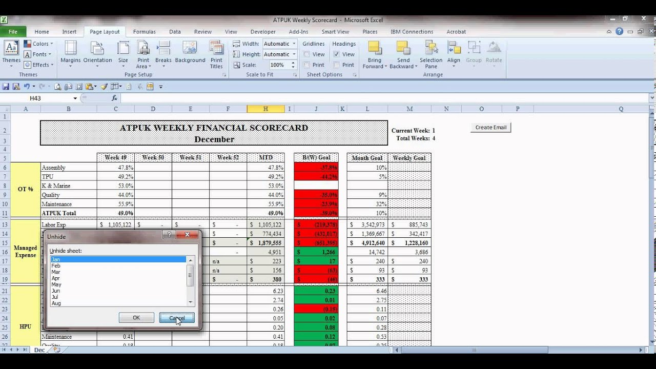 Excel hidden worksheets 2010
