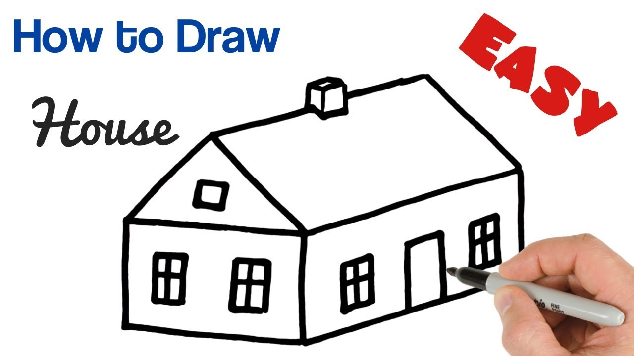 How To Draw House Easy Art Tutorial For Beginners Youtube