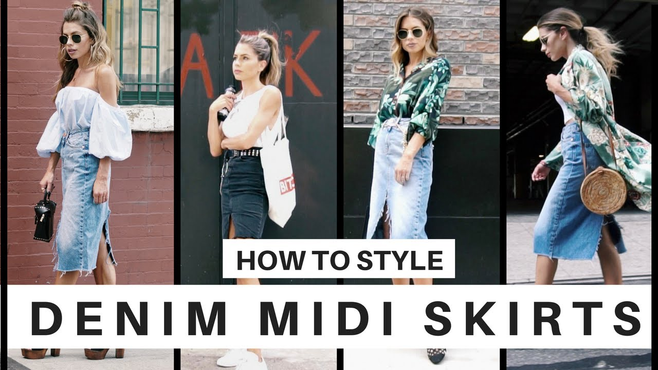 d4087c835 How to Style: Denim Midi Skirts for Summer - YouTube