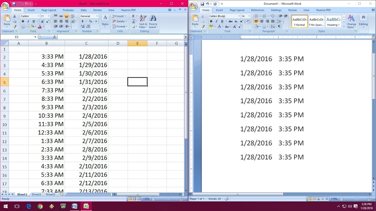 Shortcut Key To Insert Date & Time In Word & Excel (03,07,