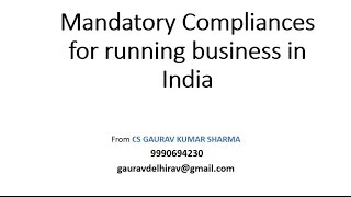 Running Private Company business in India