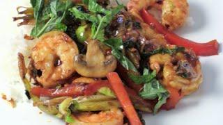 Thai Spicy Basil Shrimp Stir-fry With Leek