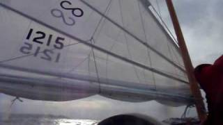 junk rigged contessa 26 mariposa, reefed down