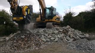 mb crusher bucket bf90 3 crushing blue stones and demolition material