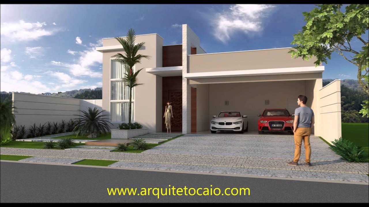 Projeto casa t rrea fachada moderna 3 suites area de lazer for Fachadas de casas modernas de 6 metros