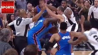 All Hell Broke Loose At The End of the Thunder vs. Spurs Game 2