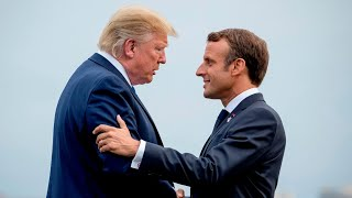 Trump arrives in UK, hits back at French president over NATO spat