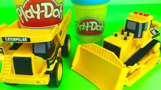 Play Doh Play CAT dump truck the Mighty Machine Bulldozer construction equipment for kids