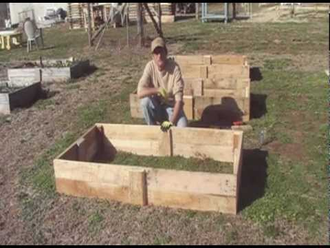 Building Raised Beds From Reclaimed Pallet Wood Youtube