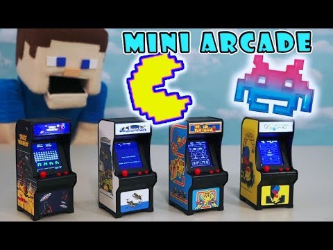 Tiny Arcade Video Game Toys - PAC MAN, Ms PAC MAN, Space Invaders, Galaxian Unboxing PUPPET GAMING!