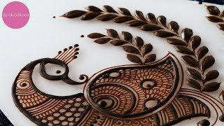 Indian Pecock motif   Henna tutorials by Devaky S Dharan