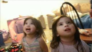 Twins singing old mcDonald ; via baby einstein; Christmas 2011.wmv