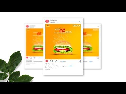 Instagram Ad - Burger Restaurant Banner Design in Adobe Photoshop CC