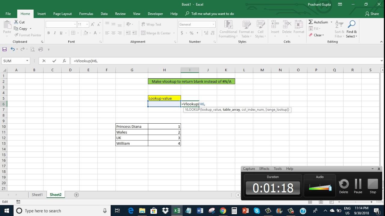 Excel Make Vlookup to return blank instead of N/A error
