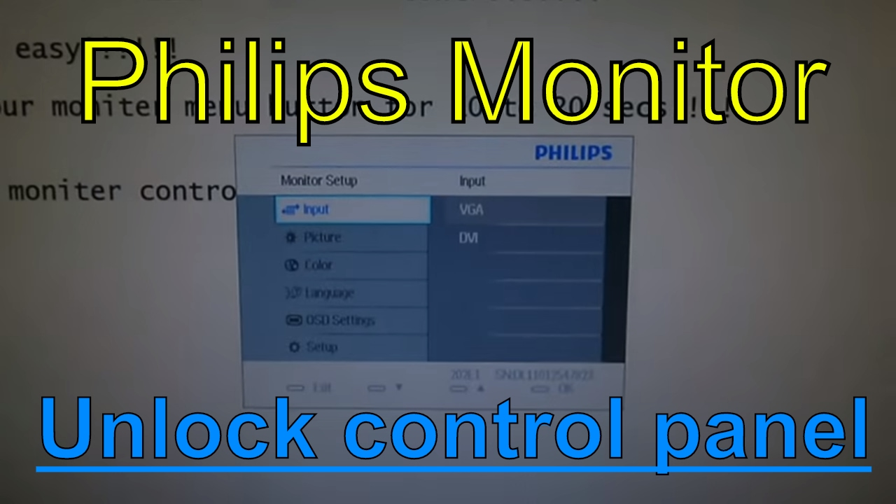Monitor controls locked philips