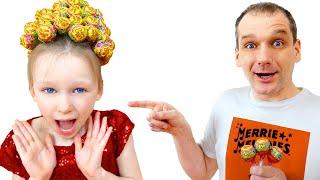 Лиза и папа делают прически с Lollipops