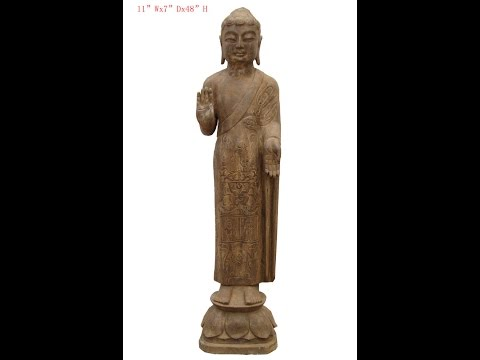Stone Standing Carving Buddha Chinese Antique Statue WK2935