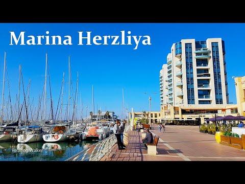 Walking In Port Marina Herzliya, Israel