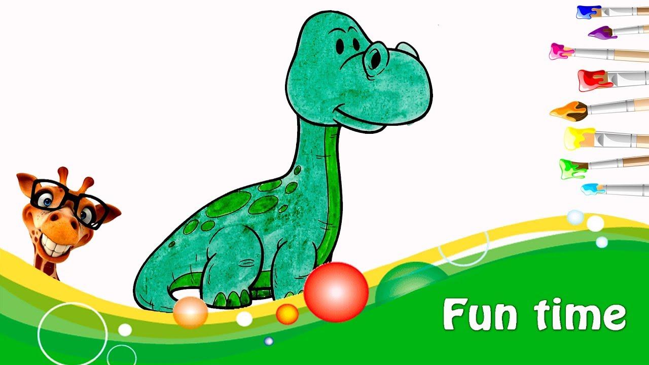 Динозавр| раскраска |учим английский| цвета - YouTube