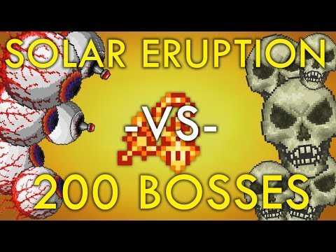 Solar Eruption vs. 200 Twins and 200 Skeletrons! [Terraria 1.3]