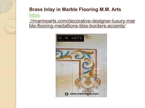 Brass Inlay in Marble Flooring M M  Arts