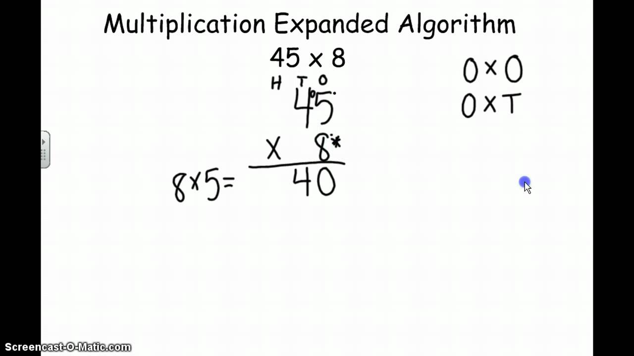 Multiplication Expanded Algorithm - YouTube