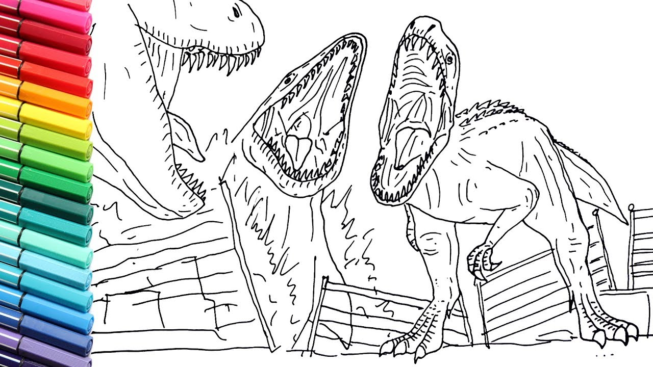 Drawing And Coloring Indominus Rex Vs Mosasaur Vs T Rex Draw Jurassic World Dinosaurs Battle