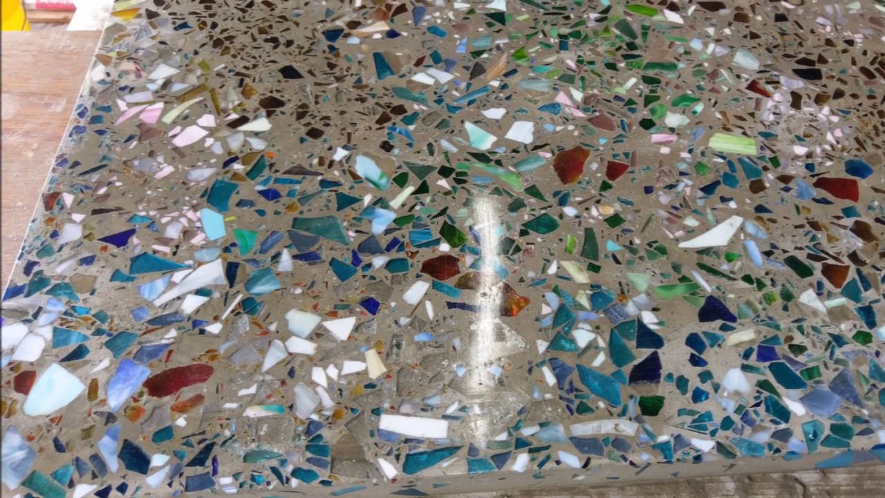 Polished Concrete With Recycled Glass Surfaces Youtube