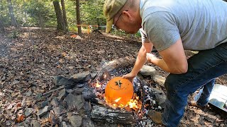 Camping & Campfire Cooĸing on Halloween - Pork & Cider Stew Cooked in a Pumpkin