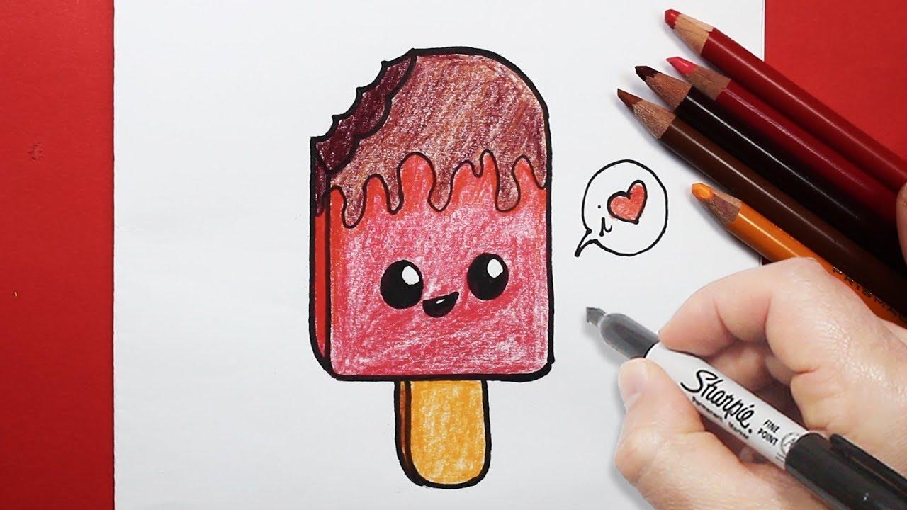 رسم أيس كريم بالرصاص و الخطوات للاطفال تعلم رسم سهل Youtube