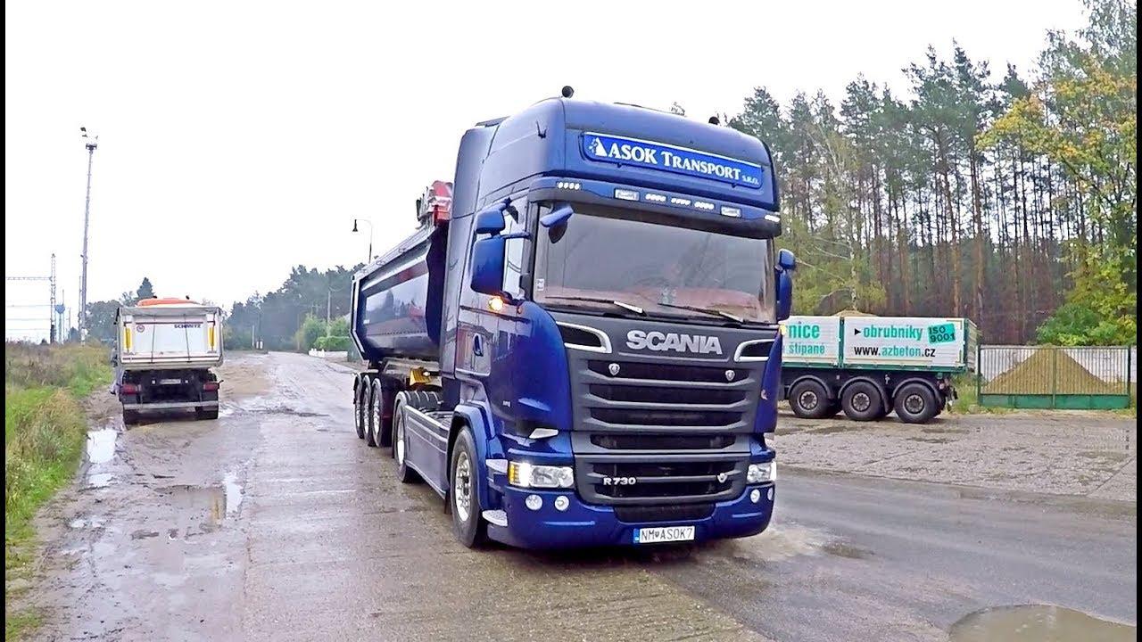 Scania and Volvo trucks in sandpit - Asok Transport - YouTube