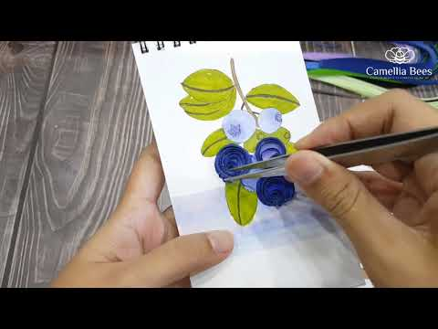Paper Quilling Art  DIY How to make quilling card - Blue Berry