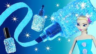 FROZEN ELSA NEON BRIGHT POLISH HIGHLIGHTER Nail Glitter Glow Bottle Plus Painting Doc Mcstuffins