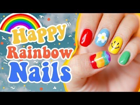 Happy Rainbow Nail   เพ้นท์เล็บเจลด้วยตัวเอง ลายสายรุ้ง ฟรุ้งฟริ้ง    MissCandyUnicorns