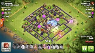Clash of Clans, Valkyrie attack, TH10 100%, 3 Stars, attack 136