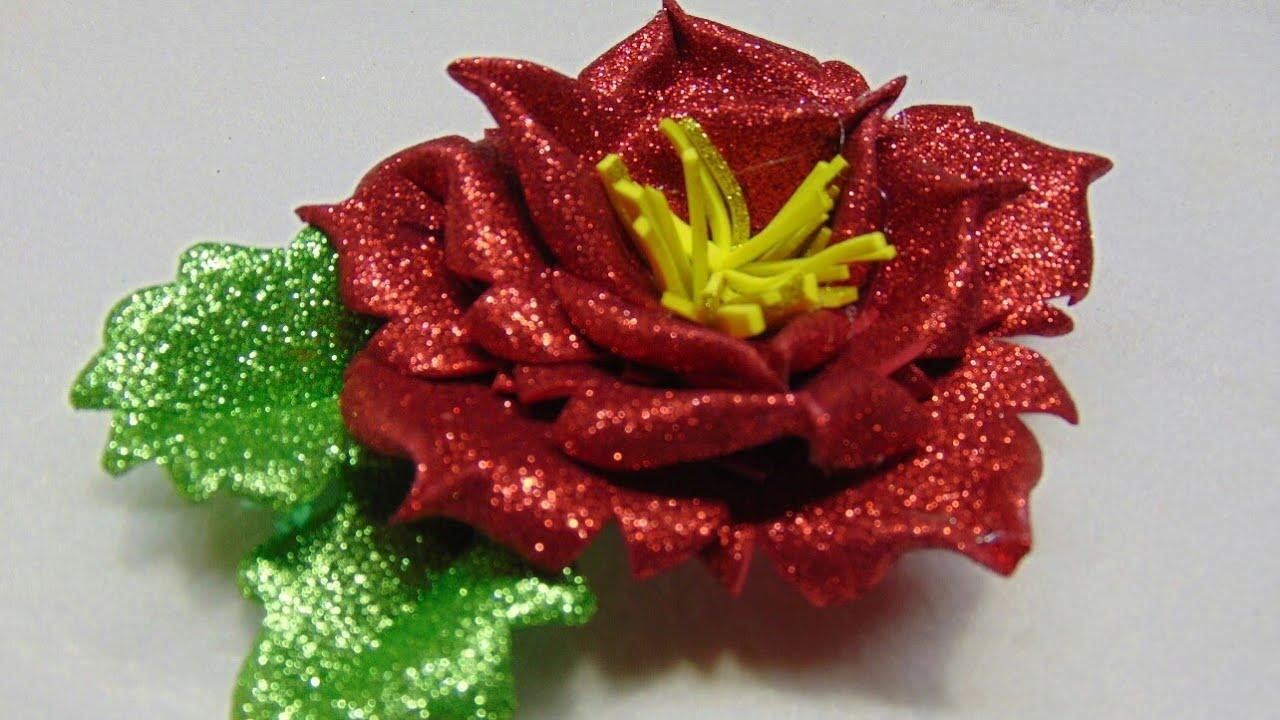 Como hacer una noche buena de fomi flores de fomi faciles youtube - Flores sencillas de goma eva ...